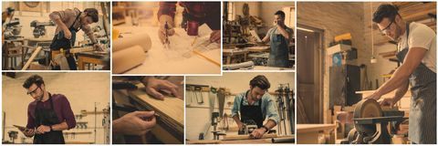Professional woodwork collage. Digital composite of professional woodwork collage stock photo