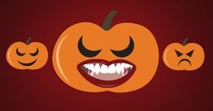 Pumpkin with lipstick and fangs illustrations. Digital composite of Pumpkin with lipstick and fangs illustrations Royalty Free Stock Photos