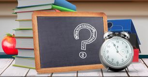Question mark education drawings on blackboard for school. Digital composite of Question mark education drawings on blackboard for school royalty free stock image