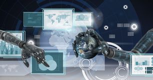 Robot hands interacting with technology interface panels holding world globe Stock Images