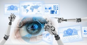 Robot hands interacting with technology interface panels Stock Images