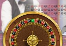 Roulette wheel and croupier. Digital composite of Roulette wheel and croupier stock photography