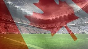 Composition of rugby stadium with Canada flag in transparency. Digital composite of rugby stadium with Canada flag waving in the foreground vector illustration