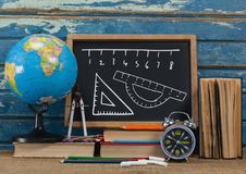 ruler measurement on blackboard Stock Image