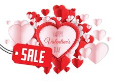 Sale for Happy Valentine`s Day text and Paper Valentines hearts. Digital composite of Sale for Happy Valentine`s Day text and Paper Valentines hearts royalty free illustration
