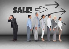 Sale text and arrows direction with Businessman calling in opposite direction of group stock photography