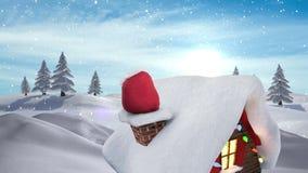 Santa presents in chimney in Winter snow landscape. Digital composite of Santa presents in chimney in Winter snow landscape stock illustration