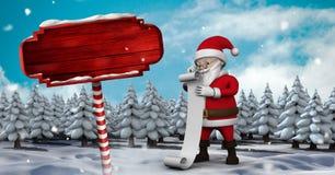 Santa reading list and Wooden signpost in Christmas Winter landscape. Digital composite of Santa reading list and Wooden signpost in Christmas Winter landscape Stock Image