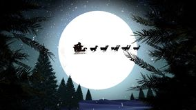 Santa in sleigh with reindeer flying over moon with trees