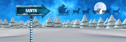 Santa text on Wooden signpost in Christmas Winter landscape and Santa`s sleigh and reindeer`s. Digital composite of Santa text on Wooden signpost in Christmas Royalty Free Stock Images