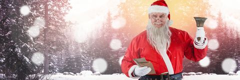 Santa with Winter landscape with bell Royalty Free Stock Images