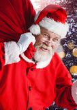 Santa with Winter landscape with sack Royalty Free Stock Images