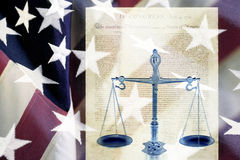 Digital composite: Scales and the Declaration of Independence Stock Photos