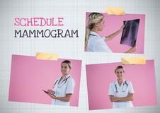 Schedule mammogram text and Breast Cancer Awareness Photo Collage. Digital composite of Schedule mammogram text and Breast Cancer Awareness Photo Collage stock photos