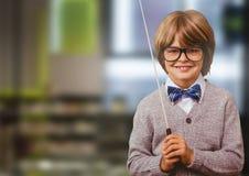 School boy in education library. Digital composite of School boy in education library royalty free stock image