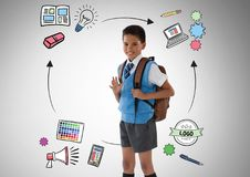 School boy in front of education graphics. Digital composite of School boy in front of education graphics Stock Photography