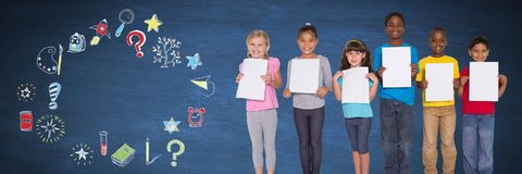 School children and Education drawing on blackboard for school royalty free stock image