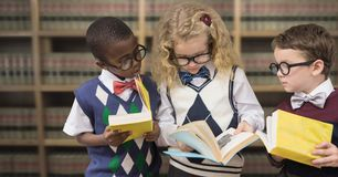 School children in education library royalty free stock images