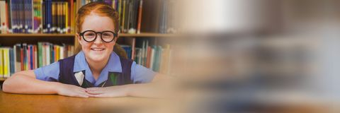School girl in education library with transition. Digital composite of School girl in education library with transition royalty free stock images