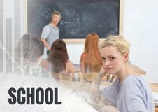 School text and students in class Stock Photo