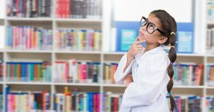 Science School girl in education library. Digital composite of Science School girl in education library royalty free stock image