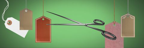 Scissors cutting price tags sales royalty free illustration