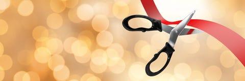 Scissors cutting ribbon with gold bokeh lights. Digital composite of Scissors cutting ribbon with gold bokeh lights royalty free stock image