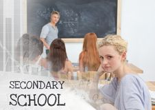 Secondary school text and Students in class Royalty Free Stock Photography