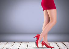 Sexy woman`s legs with red skirt and shoes in front of grey background. Digital composite of Sexy woman`s legs with red skirt and shoes in front of grey Stock Photography
