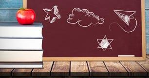 Sky drawings on education blackboard for school. Digital composite of Sky drawings on education blackboard for school royalty free stock photo