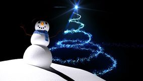 Snowman with magical Christmas tree