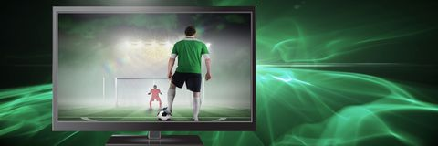 soccer player on television stock image