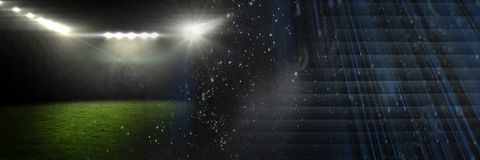 Sports stadium lights transition effect with darkness. Digital composite of Sports stadium lights transition effect with darkness Royalty Free Stock Photography