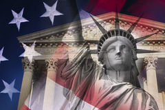 Digital composite: Statue of Liberty and Supreme Court Building Stock Photo