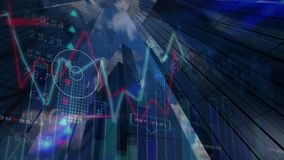 Stock market data and graph against skyscrapers. Digital composite of stock market data and graphs against skyscrapers background royalty free illustration