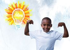 Strong Boy flexing muscles with colorful light bulb idea Royalty Free Stock Photography
