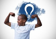 Strong boy flexing muscles in front of light bulb graphic vector illustration