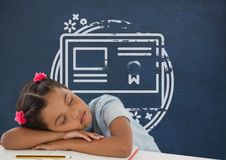 Student girl sleeping on a table against blue blackboard with school and education graphic. Digital composite of Student girl sleeping on a table against blue Stock Photo