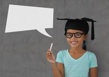 Student girl with speech bubble against grey background Stock Photos