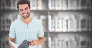 Student man in education library. Digital composite of Student man in education library stock photos