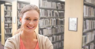 Student woman in education library. Digital composite of Student woman in education library stock images