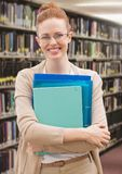 Student woman in education library. Digital composite of Student woman in education library royalty free stock photos