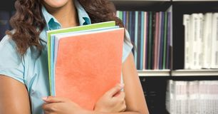 Student woman in education library. Digital composite of Student woman in education library stock image