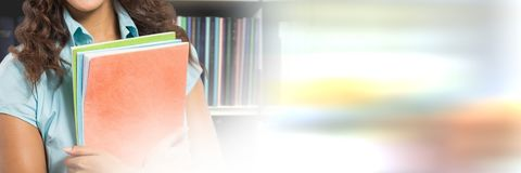Student woman in education library with transition. Digital composite of Student woman in education library with transition royalty free stock image