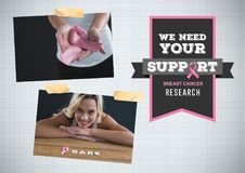 Support research text and Breast Cancer Awareness Photo Collage. Digital composite of Support research text and Breast Cancer Awareness Photo Collage Stock Image