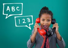 Surprised office kid girl talking on the phone against green background with education icons. Digital composite of Surprised office kid girl talking on the phone stock illustration