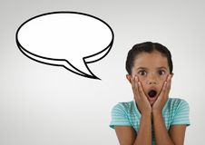 Surprised student girl with speech bubble against grey background Royalty Free Stock Photos