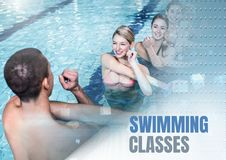 Swimming classes text and Swimming teacher with class. Digital composite of Swimming classes text and Swimming teacher with class Royalty Free Stock Photography