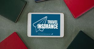 Tablet with travel insurance concept on screen vector illustration