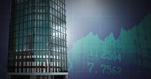 Tall buildings with economic finance background. Digital composite of Tall buildings with economic finance background Royalty Free Stock Photo